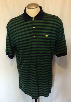 MASTERS COLLECTION GOLF POLO SHIRT GREEN STRIPED MENS SHORT SLEEVE SHIRT  LARGE  MastersCollection  PoloRugby 1b9e74d8edf