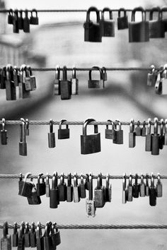 Love Bridge, Paris (Pont de L'Archeveche). Lovers leave locks behind.