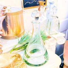 Fancy schmancy bar ware!  in booth @curiositiesvintage  What would you store in these decanters?