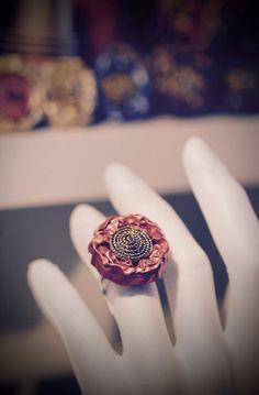 Reciclado nespresso anillo cápsula exuberante rosa. Uno de un