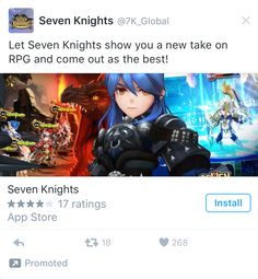 Twitter game RGP app install ad example Twitter Games, Seven Knight, Coming Out, Ads, Let It Be, Going Out, Gender Reveal Parties
