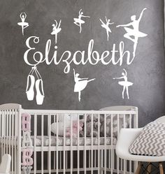 Online shopping from a great selection at Art Design Vinyl Store. Name Wall Decals, Name Stickers, Nursery Wall Decals, Nursery Art, Vinyl Decals, Vinyl Store, Ballerina Art, Textured Walls, Cute Designs