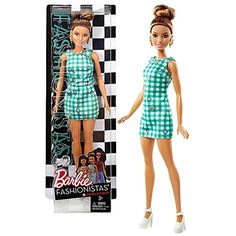 Mattel Year 2016 Barbie Fashionistas 12 Inch Doll - TERESA in Green Emerald Check Dress with Earrings * You can find more details by visiting the image link. Barbie Doll Set, Barbie Sets, Doll Clothes Barbie, Barbie Doll House, Mattel Barbie, Ropa American Girl, Barbie Playsets, Barbie Fashionista Dolls, Check Dress