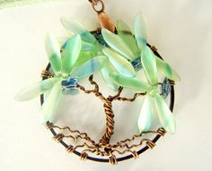 Blue Butterflies Tree of Life Necklace by CandiSuesCreations, $32.00