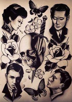 Classy neo-traditional-ish tattoo flash by Pari Corbitt! #neotraditional #tattooflash