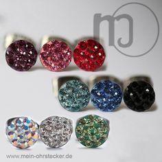 Kristalliner Ohrstecker in verschiedenen Farben-131xxx