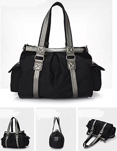 FanselaTM Women New Fashion Waterresistant Nylon Multipurpose Travel Bag Large Capacity Shoulder Bags Black * Check out the image by visiting the link.