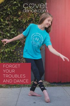 "This shirt from Covet Dance will make everyone who sees it happy. The happy face with lightening bolt eyes has the Bob Marley quote, ""Forget Your Troubles and Dance"" around it. Perfect for any style dancer from hip hop to ballet to tap. Get noticed at your next dance convention with the bright colored t-shirt. Dance Convention, Bob Marley Quotes, Dance Quotes, Tiny Dancer, Tap Dance, Girl Dancing, Mens Tees, Tanks, Hip Hop"