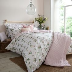 Buy Cabbages & Roses Clementine Floral Cotton Duvet Cover from the Next UK online shop Super King Duvet Covers, Double Duvet Covers, Single Duvet Cover, Rose Duvet Cover, Floral Bedding, Linen Bedding, Bed Linens, Pink Bedding Set, Bed Linen Sets