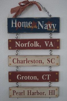 "So cute!!! Definitely doing this for our house. Of course it'll say, ""Home is where the Air Force sends us"". Even though I'm a navy brat at heart c:"
