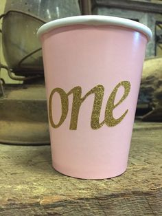 First Birthday Pink and Gold Glitter One Cups 1st by TheTackyNut