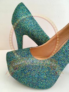 cbe0e57c39aa Peacock Glitter Heels Peacock Glitter Platform Bridal Wedding Shoes  Bridesmaid Party Customised Shoes UK Size 3 4 5 6 7 8
