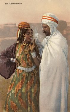 Algerian couple Lehnert & Landrock - Galerie - www. African Culture, African History, African Art, Renaissance Kunst, Sacred Art, Woman Painting, North Africa, Photo Illustration, Islamic Art