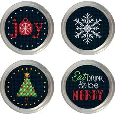 Holiday Cheer Jar Topper Counted Cross Stitch Kit-Set Of 4