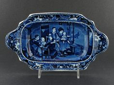 """Hard to find early 19th century historical Staffordshire dark blue transfer sauce tureen tray with """"The Rabbit on the Wall"""" view from the Wilkie Series."""