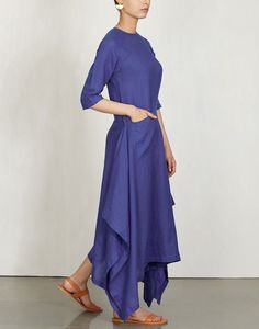 Check out our Sapphire Linen Kurta Dress by PAYAL KHANDWALA available at Ogaan Online store at special price. Payal Khandwala walks the fine line between traditional and contemporary style Indian Fashion Dresses, India Fashion, Women's Fashion, Indian Attire, Indian Wear, Suits For Women, Clothes For Women, Ladies Suits, Kurti Patterns