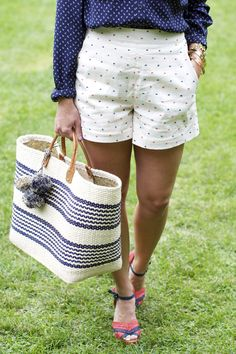 Outfit: Red, White, and Blue Summer Chic, Summer Wear, Spring Summer Fashion, Summer Outfits, Red White Blue, Navy And White, Sequins And Stripes, Mixing Prints, Everyday Fashion