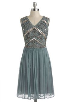 Embellishment to Be Dress - Blue, Solid, Beads, Pearls, Sequins, Holiday Party, A-line, Sleeveless, Gold, Pleats, Party, V Neck, Mid-length
