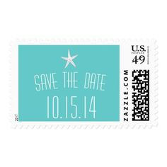 Simple Starfish Teal Save The Date Wedding Postage