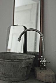 Galvanized Bucket as Bathroom Sink