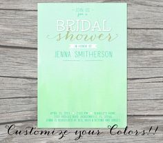 "NEW - OMBRE Watercolor Printable BRIDAL Shower Invitation- 5""x7"" - Customize your Colors.  via Etsy. #MINT"