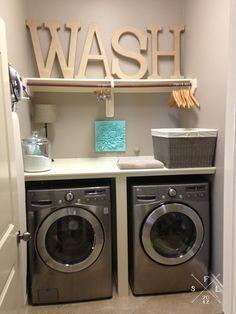 Laundry Room Wash + Dry + Fold Station // SimplyFabulousLiving.com