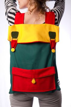 big laptop backpack color block green yellow red with by Marinsss