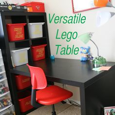 Awesome Versatile Lego Table - has Lego storage and place to build, isn't just good size for little kids, fairly inexpensive and can still be used even if kids outgrow Legos. Shows how to make words for buckets too. Ikea furniture at it's best Diy Storage Desk, Lego Storage, Kids Storage, Diy Desk, Built In Storage, Storage Ideas, Lego Table With Storage, Food Storage, Lego Desk