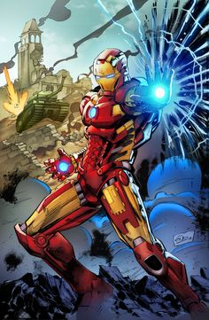 Iron man by Eric Ninaltowski Iron Men, Iron Man Avengers, Arte Dc Comics, Marvel Comics Art, Iron Man Wallpaper, Marvel Wallpaper, Marvel Comic Character, Marvel Characters, Stan Lee
