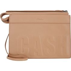 """3.1 Phillip Lim """"Cash Only"""" Depeche East-West Clutch ($369) ❤ liked on Polyvore featuring bags, handbags, clutches, nude, nude clutches, genuine leather purse, beige purse, nude handbags and leather clutches"""