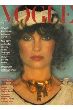 Vogue October 1974 Cover David Bailey   Jean Shrimpton wears a dress by Zandras Rhodes.