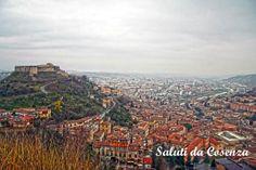 Cosenza,il castello Normanno-Svevo visto da colle Vetere,domina la città vecchia e nuova.(e la valle del Crati..)