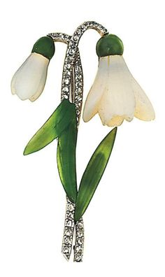 A hardstone and diamond brooch  Modelled as a snowdrop, the carved white chalcedony flowers to nephrite jade caps and leaves and rose-cut diamond stem, 6.4cm long