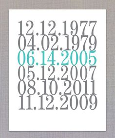 Subway Art, Date Print, Important Dates, Birth Dates, Wedding Gift - 8x10. $24.00, via Etsy.