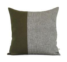 Olive Green Chambray Pillow Cover Set of 2 di JillianReneDecor