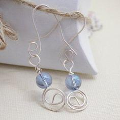 Wire jewelry, dangle earrings, blue beaded nickel free earrings
