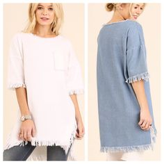 Frayed Denim Tops!! $38 and ships FREE in US!
