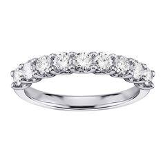 14k/18k White Gold 3/4ct TDW U-Prong 9-stone Diamond Wedding Ring (G-H, SI1-SI2) (14k Gold - Size 7.0), Women's