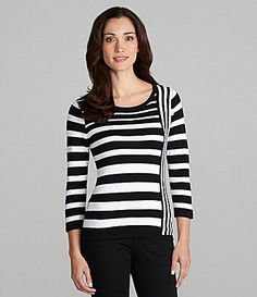 Investments Striped Scoopneck Sweater #Dillards