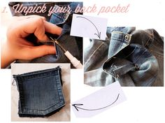 How to patch back pockets with material on Trends With Benefits