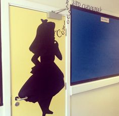 Alice in Wonderland silhouette display #AliceinWonderland #Alice #readingdisplay Disney Classroom, New Classroom, Preschool Classroom, Classroom Themes, Toddler Preschool, Classroom Activities, Alice In Wonderland Silhouette, Alice In Wonderland Tea Party, School Displays