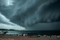 HP supercell with massive shelf cloud approaching to the beach South of Umag, Croatia 23.6.2015