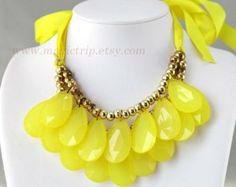 ribbon teardrop bib necklaces | ... , Bib necklace