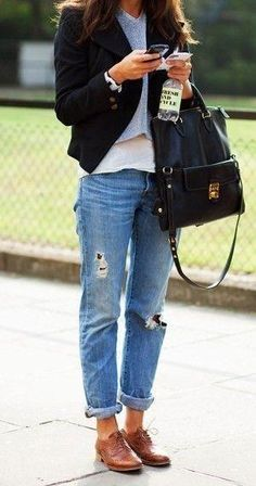 Outfit Idea: Casual, cool, and totally chic: A pair of boyfriend jeans, two layered T-shirts, a shrunken blazer, and a pair of classic brown oxfords.
