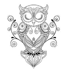 Thigh Tattoos for Women: Desigs & Ideas Owl Coloring Pages, Coloring Books, Owl Tattoo Design, Tattoo Designs, Buho Tattoo, Body Art Tattoos, Owl Tattoos, Tattoo Owl, Quill Tattoo