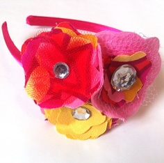 Headband with Tulle and Fabric Flowers in Pink, Red, and Yellow.