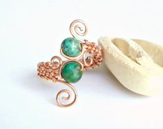 Turquoise Copper Wire Ring, Adjustable Turquoise Ring, Wire Wrapped Copper Ring, Adjustable Copper Ring, Turquoise Wire Ring