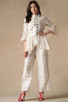 Buy Chanderi Peplum Jacket by Twenty Nine at Aza Fashions Designer Party Wear Dresses, Kurti Designs Party Wear, Indian Designer Outfits, Tunic Designs, Kurta Designs Women, Western Dresses For Women, Dress Indian Style, Indian Wear, Indian Bridal Outfits