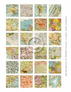 671_WorldMaps1.5inSquares. Old style map squares of Australia, Africa, USA etc. $3 for 24 printables