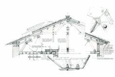 """DANILO GUERRI, """"Copertura ala alloggi IACP, Convento di San Giovanni (oggi Biblioteca Comunale), Pesaro"""" 1998, penna a china su lucido, cm 74x127"""
